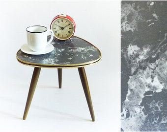 Mid Century Coffee Table / Kidney Table / Black & White Marble / Plant Stand / Tripod Table 50s 60s