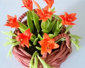 Miniature Polymer Clay Flowers English Cottage Lilies 1 pcs