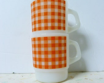 Vintage Fire King Style Orange Gingham Mugs