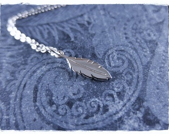 Tiny Silver Feather Necklace - Sterling Silver Tiny Feather Charm on a Delicate Sterling Silver Cable Chain or Charm Only