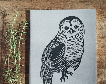 Owl Journal, XL, lined, gray cahier journal, hand printed, black ink