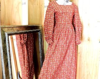 Vintage 60s maxi dress  / 1960s prairie dress / long paisley cotton dress / boho / hippie festival dress / S / M size 6 / 7
