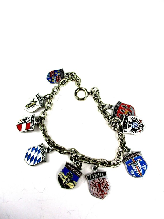 Vintage Germany Aluminum Souvenir Travel Shield Charm Bracelet