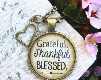Grateful. Thankful. Blessed Pendant Necklace