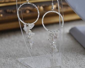 Circle waterfall pink quartz and crystal dangle earrings - Handmade