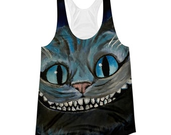 Women's Racerback Tank Cheshire Cat All Over Alice in Wonderland Original Print