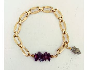 Garnet and Pyrite with Vintage Gold Chain- Stackable Gemstone Friendship Bracelet