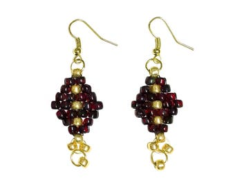 Bead Earrings Gold/Burgundy