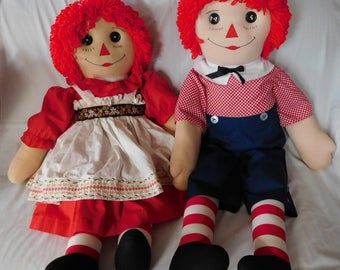 vintage RAGGEDY ANN and ANDY doll handmade 40 inches