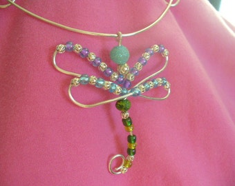 Dragonfly Wire Pendant Necklace, handmade, silver, glass beads