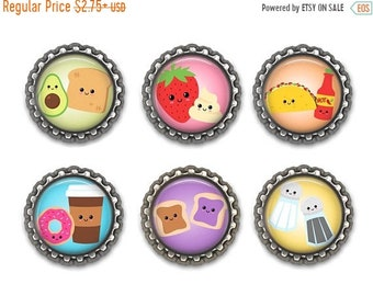 ON SALE - Foodie Gift, Bottlecap Magnets, Cute Gifts, Kawaii Food, Magnets Fridge, Party Favors, Kitchen Decor, We Belong Together
