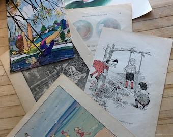 Vintage Childhood Summer Book Pages