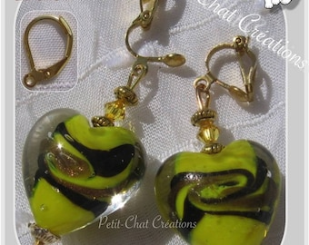 """CLIPS OR CHOOSE GLASS HEART CRYSTALS """"IMMORTAL HEART"""" EARRINGS"""