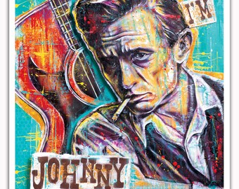 "Kunst drucken Poster 12 x 18""- Johnny Cash - Hallo ich bin Johnny Cash Country-Musik Mann in schwarz Nashville Pop-Art für die Wände"