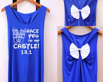 Race you to my castle princess Disney Bow Tank Top. Disney princess. Tank Top. Bachelorette Party Tank Tops. Work out tank top. Disney tank