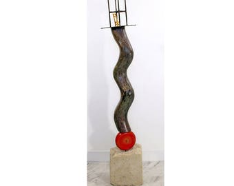 Contemporary Squiggly Shimmery Floor Sculpture on Stone Base by Unknown Artist