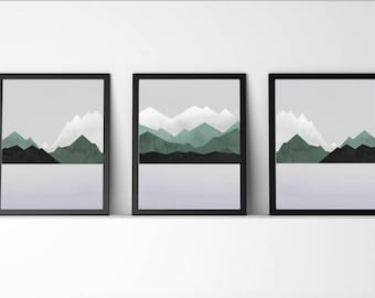 Set of 3, prints,Scandinavian,Mountain,Watercolor,modern,mountain decor,abstract,Green,gray,nature,A4,8.5x11, digital,nursery,gift for home,