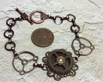 Steampunk handmade bracelet vintage clock cog gear - Mechanical Romance -