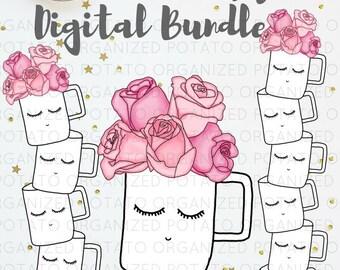 Floral Girl Coffee Cup Digital Bundle   Clip Art & Digital Paper   For use in Planner, Bullet Journal, Travelers Notebook, Erin Condren, etc