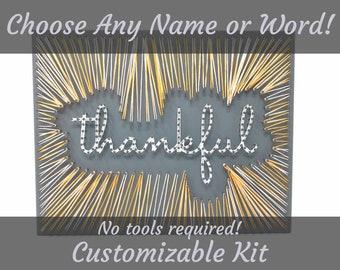Custom Name or Word, String Art Kit, String Art, Craft Kit, Custom Word, Name String Art, Word String Art, Wood Wall Decor, Wall Decor