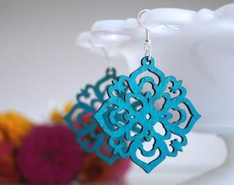 laser cut earrings, wooden earrings, laser cut wooden earrings, peacock blue earrings, popular earrings, summer earrings, lightweight