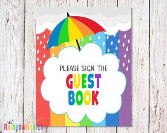 PRINTABLE Please Sign The Guest Book Sign, Baby Shower Party Sign, Printable Guest Book Sign, Rainbow Baby Guest Book Sign, INSTANT DOWNLOAD