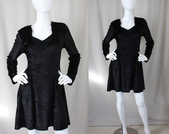 Black Crushed Velvet Vintage | Fit and Flare Dress | 90s | Marnie West | Small / Medium