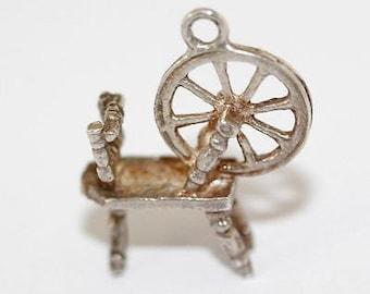 Vintage Spinning Wheel Sterling Silver Bracelet Charm / 3d Detail (2.3g)