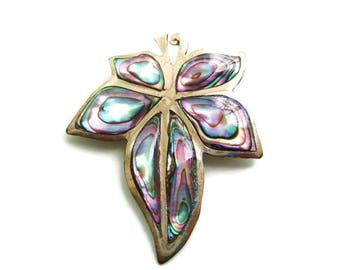 Abalone Maple Leaf Pin/ Mexico Alpaca Silver Pin/ Leaf Motif Brooch  Pin