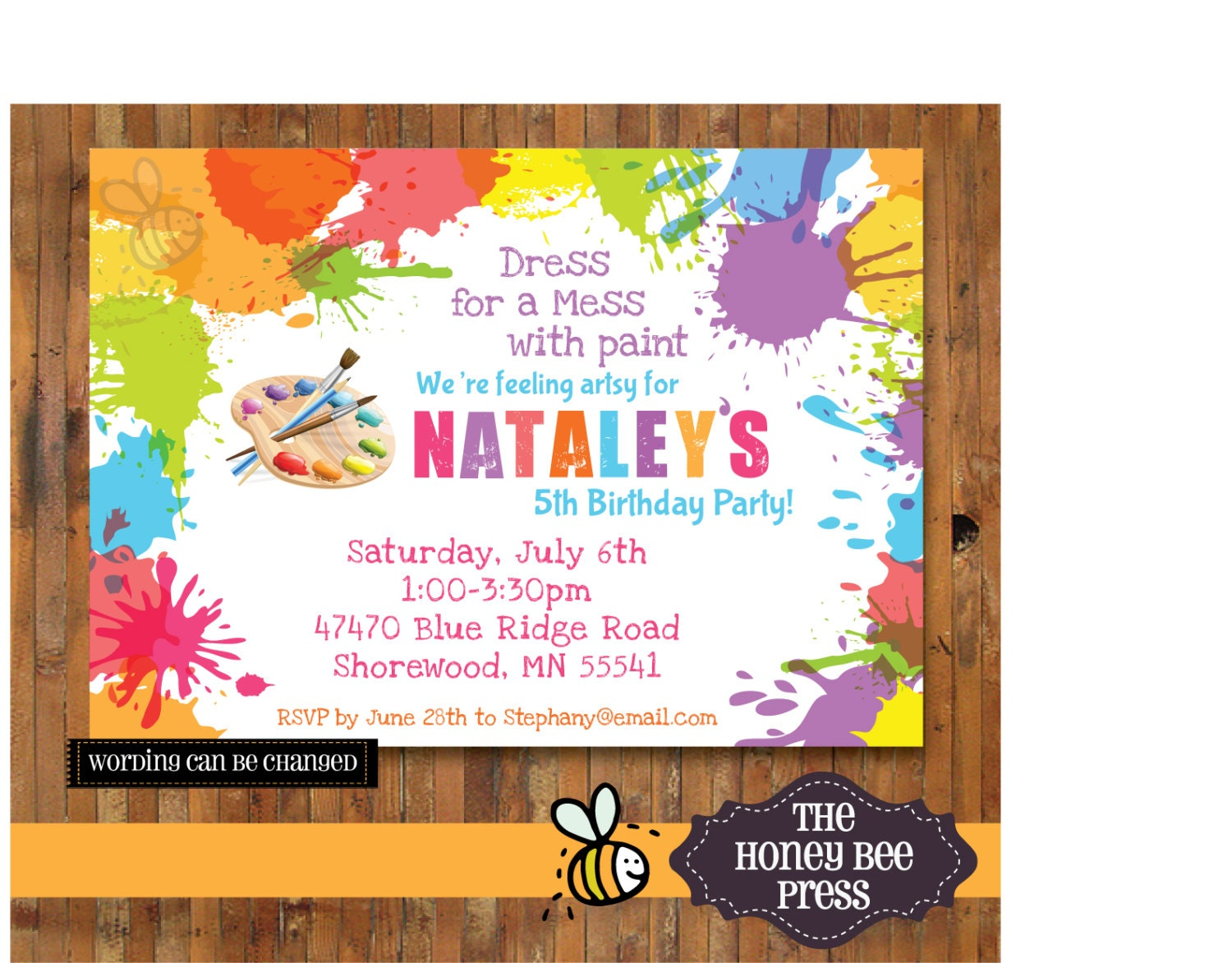 Art Party Invitation Splatter Paint Birthday Party