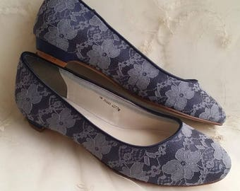 Navy Blue Lace Wedding Shoes Navy Blue Lace Bridal Shoes Lace Kitten Heel Bridal Shoes - PICK YOUR COLOR Over 100 Color Choices