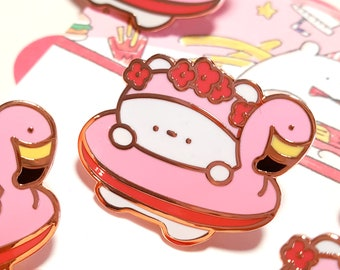 Flamingo tube & Cerabear pin / summer badge / cute bear enamel pin
