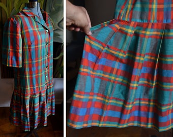 Mediun  - Vintage Plaid Day Dress