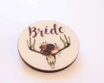 Boho Skull Floral Custom Made Bridal Shower Wooden Badges - Hens Party Hen Parties Rustic Florals Burgandy Purple Bride Tribe Name Badge