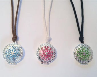 SALE- ORGANIC Essential Oil Diffuser Necklace - Silver locket style on Certified Organic Cotton Cord (Adjustable)