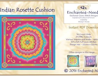 Indian Ethnic Rosette Tile Cross Stitch Cushion Colour PDF Pattern // Cross Stitch Pattern // Instant Download // Cross Stitch PDF
