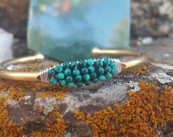 Malachite Bangle Cuff Bracelet