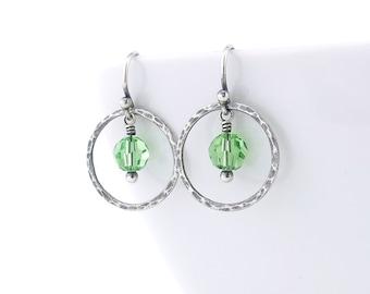 Small Peridot Green Earrings Sterling Silver Hoop Earrings Summer Outdoors Gift for Wife Handmade Modern Jewelry - Dainty Dot