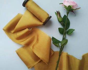 MUSTARD Hand dyed Silk ribbon, 3 yards, Bouquet Ribbon / Ribbon with Spool / Wedding Silk Ribbon, Bouquet Wrap