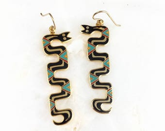 Vintage Laurel Burch Enamel Snake Earrings