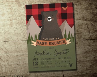 Lumberjack Baby shower Invitation, Woodland Bear illustration, red flannel forest design, bring a book, thank you cards, diaper raffle, wild