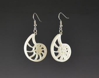 Small Fibonacci Spiral Nautilus Earrings- upcycled, recycled sacred geometry spiritual jewelry white dangle corian handmade gift idea
