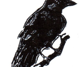 Crow on Branch-REGULAR Red Rubber Stamp-Original design 00623, halloween rubber stamp, crow rubber stamp