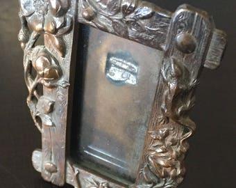Miniature Art Nouveau Brass Picture Frame