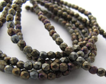 NEW Matte Iris Brown  2mm Facet Round Czech Glass Fire Polished Beads 50pc #2325