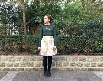 World map skirt, vintage map print fabric, pleated skirt, knee length skirt, unique skirt, Cartography, kitsch skirt, atlas skirt