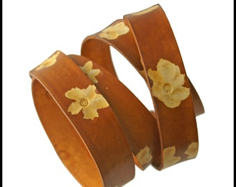 """Flowers Caramel Leather Strap, 20mm wide, Eco Friendly Leather Made in the USA, sold in 16"""" increments / Leather Straps, Leather Cord"""