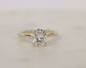 Oval Moissanite Solitaire Engagement Ring, Yellow Gold Ring, Wedding Ring, Engagement Ring, Moissanite
