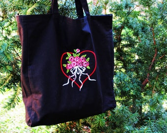 Embroidered tote bag Black cotton Grocerie Reausable Bag Shopping bag Eco-friendly Natural FREE SHIPPING
