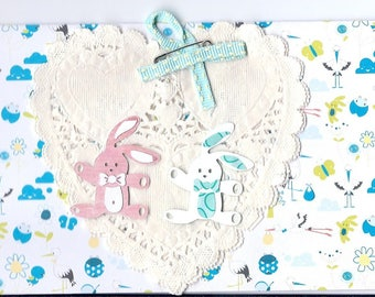 newborn twin boy and girl card
